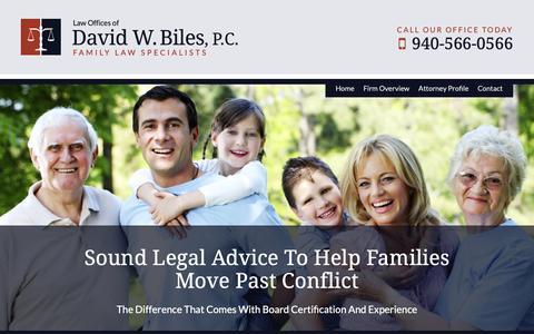 Screenshot of Home Page bileslaw.com - Denton Family Law Attorney | Texas Divorce Lawyer | Custody Attorney - captured Sept. 27, 2018
