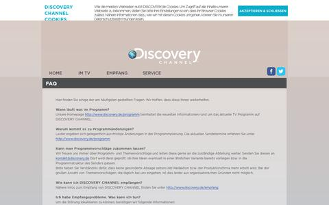 Screenshot of FAQ Page discovery.de - FAQ | DISCOVERY CHANNEL - captured May 22, 2016