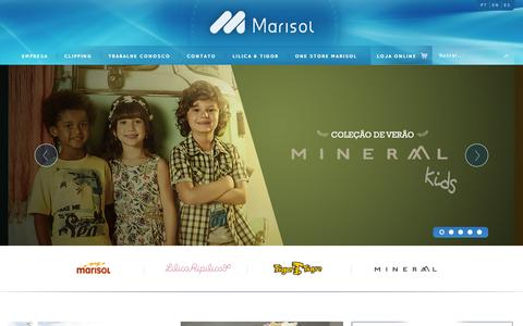 Screenshot of Home Page marisolsa.com - Marisol S/A | Vestindo o corpo e a alma das pessoas - captured Sept. 23, 2014