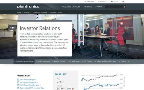 Plantronics | Company | Investor Relations | Corporate Profile