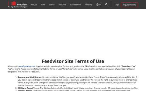 Screenshot of Terms Page feedvisor.com - Site Terms of Use | Feedvisor - captured Dec. 1, 2017