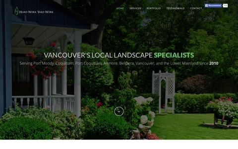 Screenshot of Home Page hardworkyardwork.com - Hard Work Yard Work | Port Moody, Coquitlam, Port Coquitlam, Anmore, Belcarra, Tri-Cities, Vancouver, Lower Mainland Landscaping and Gardening - captured July 19, 2015
