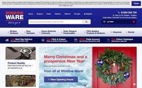 Screenshot of Home Page windowware.co.uk - Window & Door Hardware & Accessories - Window Ware - captured Dec. 21, 2016