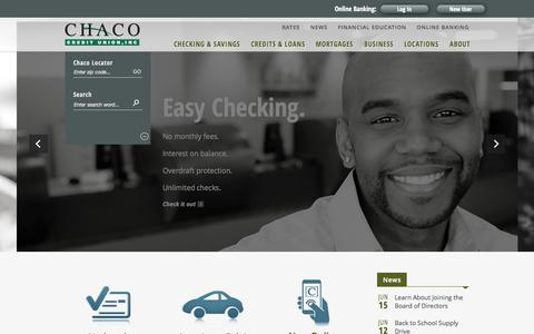 Screenshot of Home Page chacocu.org - Chaco Credit Union - Smart Choices & Great Rates - captured June 18, 2015