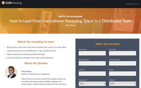 Screenshot of Landing Page gotomeeting.com - How to Lead From Everywhere: Nurturing Talent in a Distributed Team - captured May 6, 2018