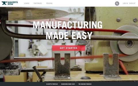Screenshot of Home Page makersrow.com - Maker's Row - Factory Sourcing Made Easy - captured Feb. 13, 2016