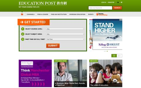 Screenshot of Home Page educationpost.com.hk - Further Study and Continuing Education in Hong Kong | Education Post - captured Sept. 23, 2014