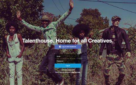 Screenshot of Login Page talenthouse.com - Talenthouse - captured Feb. 14, 2016
