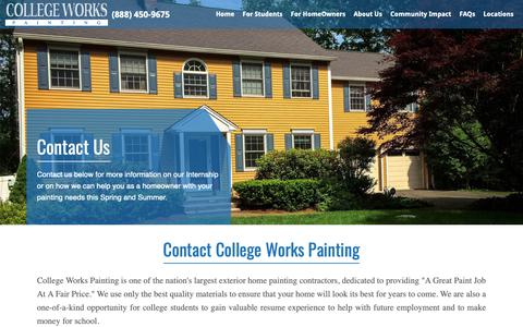 Screenshot of Contact Page collegeworks.com - Contact College Works Painting | College Works Painting - captured Sept. 28, 2018