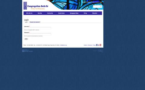 Screenshot of Login Page bethor.org - Login | Congregation Beth Or - captured Oct. 3, 2014
