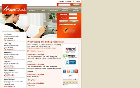 Screenshot of Testimonials Page papercheck.com - Proofreading & Paper Editing — Client Testimonial - captured Sept. 23, 2014