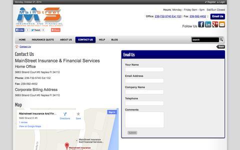 Screenshot of Hours Page napleshomeinsurancefl.com - Contact Us - MainStreet Insurance Agency Naples, Florida - captured Oct. 27, 2014