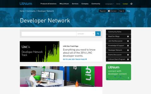 Screenshot of Developers Page lithium.com - Developer Network - Lithium Community - captured Sept. 11, 2014