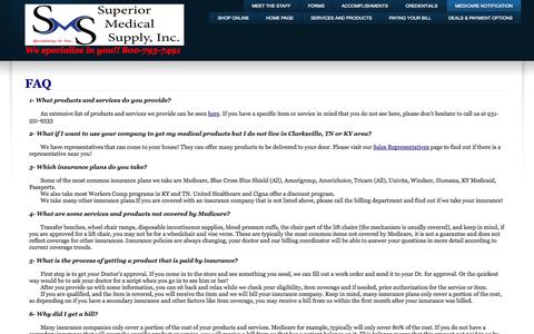 Screenshot of FAQ Page superiormedical.net - FAQ - captured Oct. 8, 2014