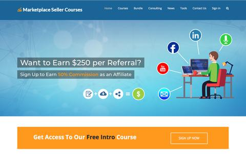 Screenshot of Home Page marketplacesellercourses.com - Amazon Seller Courses | How to Sell on Amazon - captured July 9, 2018