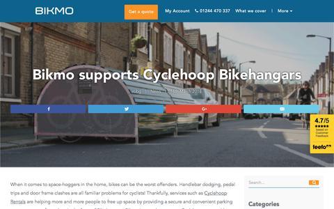 Screenshot of Press Page bikmo.com - Bikmo supports Cyclehoop Bikehangars - Bikmo - captured June 26, 2018