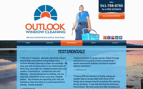 Screenshot of Testimonials Page outlookwindowcleaning.com - Outlook Window Cleaning | Bend Oregon | 541-788-8760 - captured Sept. 21, 2018