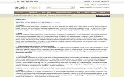 Screenshot of Terms Page arcadianhome.com captured Nov. 6, 2018