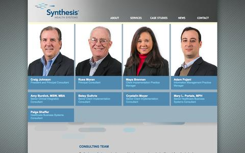 Screenshot of Team Page synthesishs.com - Synthesis Health Systems - captured Oct. 6, 2014