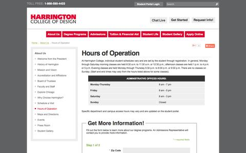 Screenshot of Hours Page harrington.edu - Harrington College of Design | Hours of Operation - captured Nov. 1, 2014