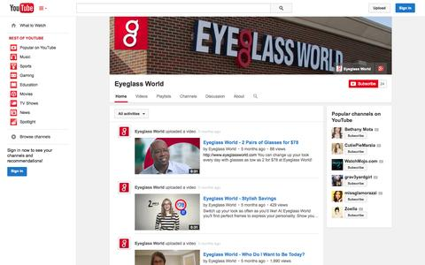 Screenshot of YouTube Page youtube.com - Eyeglass World  - YouTube - captured Oct. 30, 2014