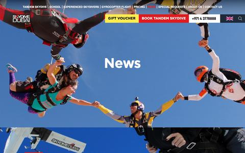 Screenshot of Press Page skydivedubai.ae - News   Skydive Dubai - captured Aug. 12, 2019