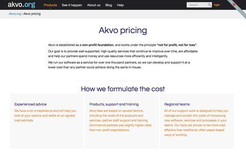 Screenshot of Pricing Page akvo.org - Akvo pricing | Akvo.org - captured Sept. 13, 2014
