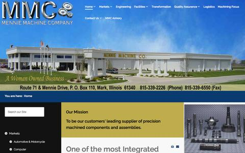Screenshot of Home Page mennies.com - CNC Contract Precision Machining-Mennie Machine-ISO/TS 16949:2002 - captured Sept. 30, 2014