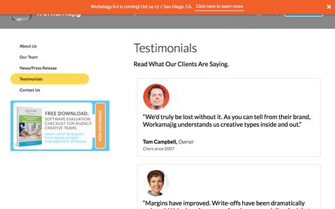 Screenshot of Testimonials Page workamajig.com - Workamajig Client Testimonials - captured Jan. 1, 2018