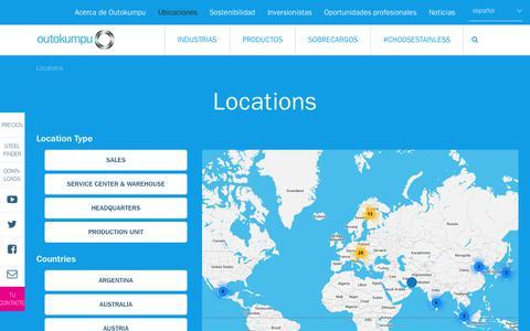Screenshot of Locations Page outokumpu.com - Outokumpu locations around the world | Outokumpu - captured Oct. 29, 2018
