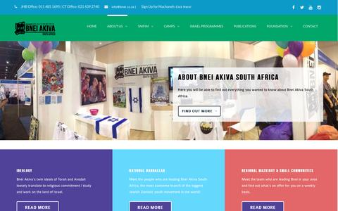 Screenshot of About Page bnei.co.za - About Us | Bnei Akiva South Africa - captured Feb. 7, 2016