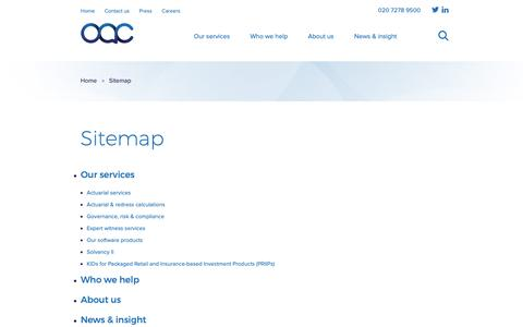 Screenshot of Site Map Page oacplc.com - Sitemap | OAC | OAC - captured Oct. 18, 2018