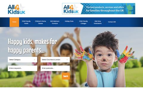 Screenshot of Home Page all4kidsuk.com - Kids Activities   Child Friendly Holidays & Kids Summer Camps - captured Nov. 19, 2015