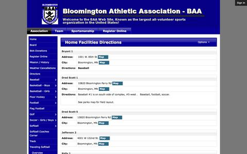 Screenshot of Maps & Directions Page baaonline.org - Home Facilities Directions | Bloomington Athletic Association - BAA - captured Oct. 10, 2017