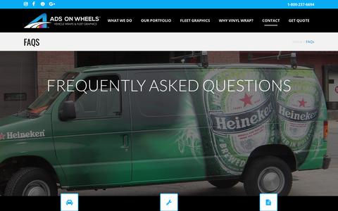 Screenshot of FAQ Page adsonwheels.com - Outdoor Advertising Banners | Custom Vinyl Banners | FAQS - captured Oct. 7, 2017