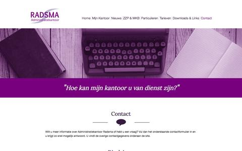 Screenshot of Contact Page radsma.nl - Contact - Administratiekantoor Radsma - captured Feb. 5, 2016