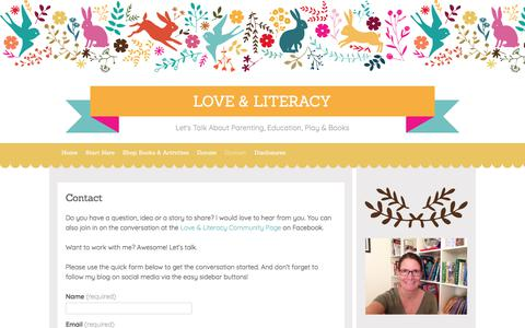 Screenshot of Contact Page loveandliteracy.org - Contact | Love & Literacy - captured July 23, 2018