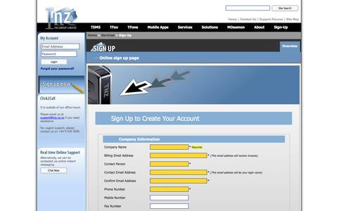 Screenshot of Signup Page tnz.co.nz - Sign Up   TNZ Group - captured Oct. 13, 2017