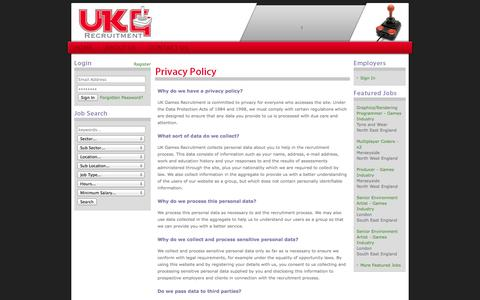 Screenshot of Privacy Page ukgrecruitment.com - UK Games - Computer Games Industry Recruitment Agency - Home - captured Oct. 3, 2014