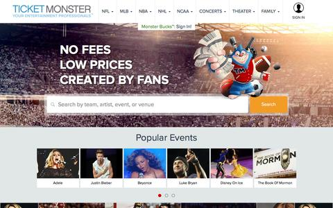Screenshot of Home Page ticketmonster.com - Tickets | Ticket Monster - Sports, Concerts, Theater Events - captured Aug. 17, 2016