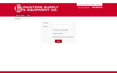 Screenshot of Login Page painters-supply.com - Contact Us – Painters Supply - captured Oct. 1, 2014