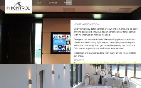 Screenshot of Services Page inkontrol.co.uk - Home automation, Crestron, Lutron, Kaleidescape dealers in Cheshire - captured July 6, 2017