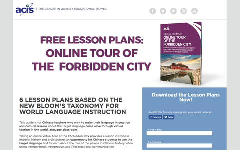 Screenshot of Landing Page acis.com - Online Tour of The Forbidden City Lesson Plans - captured March 30, 2017