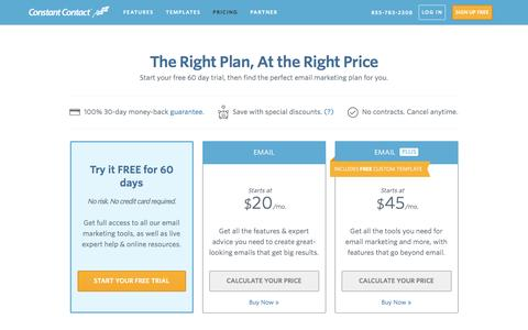 Screenshot of Pricing Page constant-contact.com - Email Marketing Software | Constant Contact Pricing - captured Jan. 27, 2017