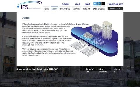 Screenshot of About Page ifacsolutions.com - Integrated Facilities Solutions | ABOUT - captured Oct. 15, 2017