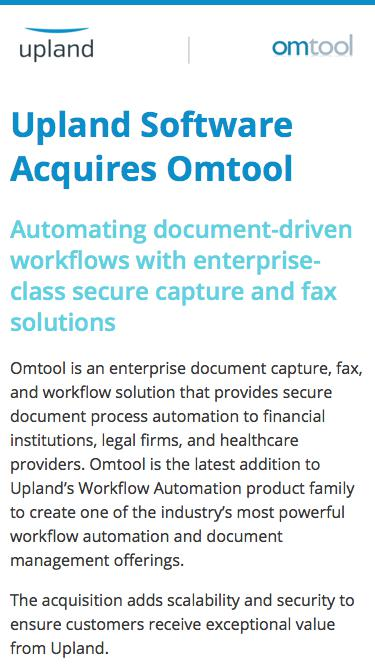 Upland Software Acquires Omtool