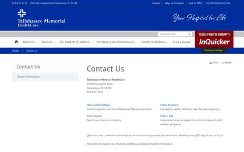 Screenshot of Contact Page tmh.org - Contact Us | Tallahassee Memorial HealthCare - captured Oct. 7, 2014