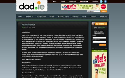 Screenshot of Privacy Page dad.ie - Dad.ie Privacy Policy :: Parenting Site for Dads and Dads-to-be - captured Oct. 26, 2014