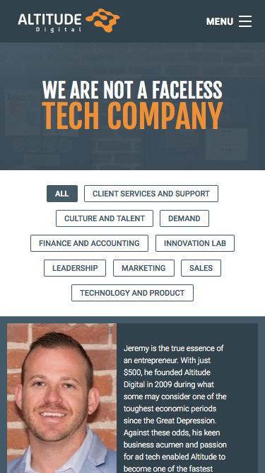 Screenshot of Team Page  altitudedigital.com - Team | Altitude Digital