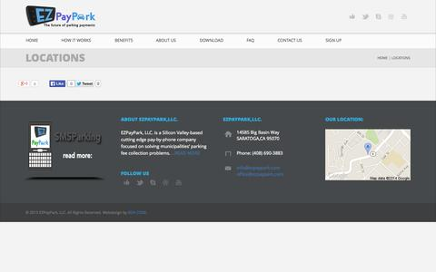 Screenshot of Locations Page ezpaypark.com - LOCATIONS - EZPayPark, LLC. - captured Oct. 1, 2014
